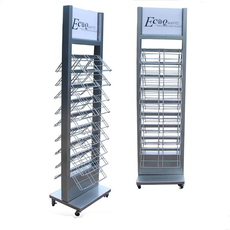 Double Sides Fashion Silver Iron Steel Quartz stone sample accessories good display rack-S076